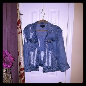 Forever 21 Distressed Blue Jean Jacket Size XXL